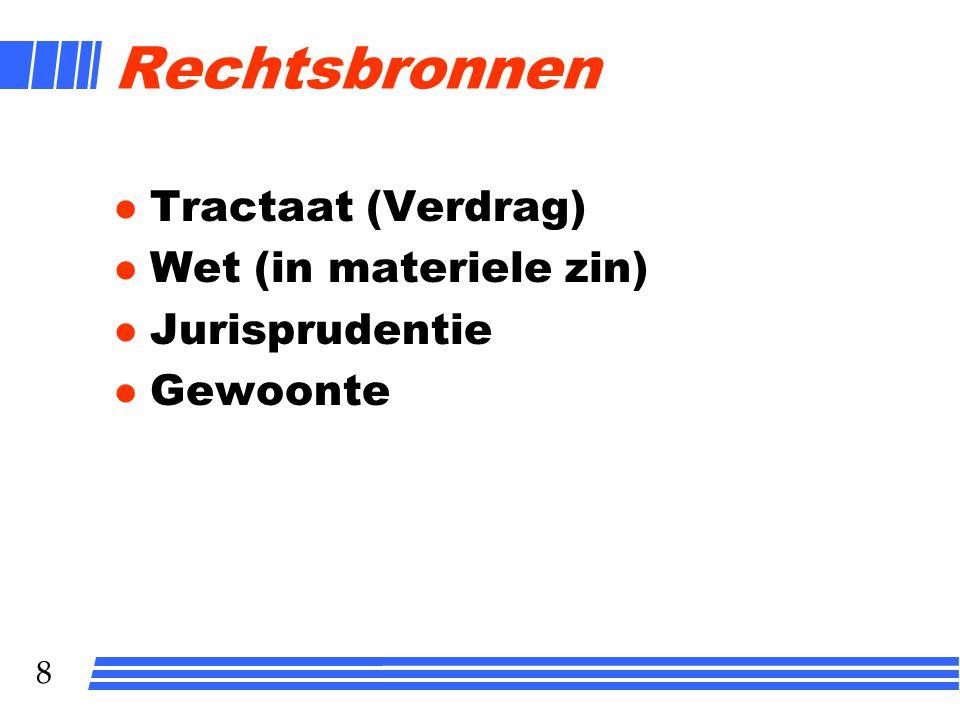 Rechtsbronnen Tractaat (Verdrag) Wet (in materiele zin) Jurisprudentie