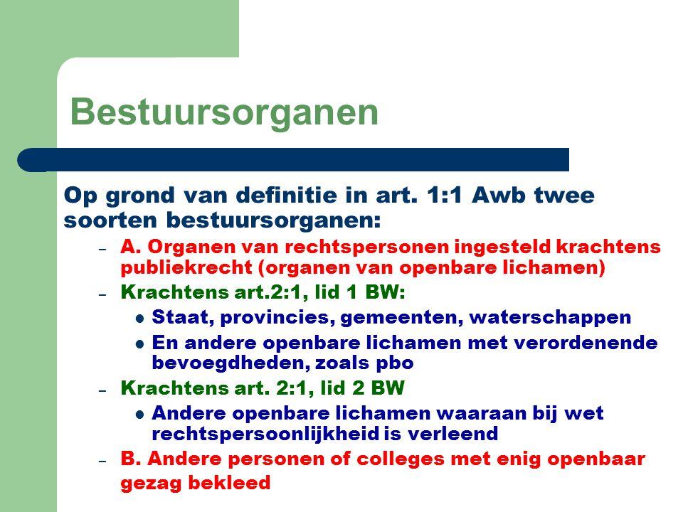 Bestuursorganen Op grond van definitie in art. 1:1 Awb twee soorten bestuursorganen: