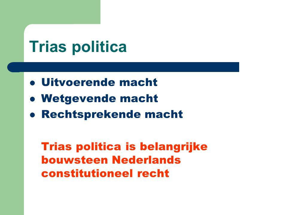 Trias politica Uitvoerende macht Wetgevende macht Rechtsprekende macht