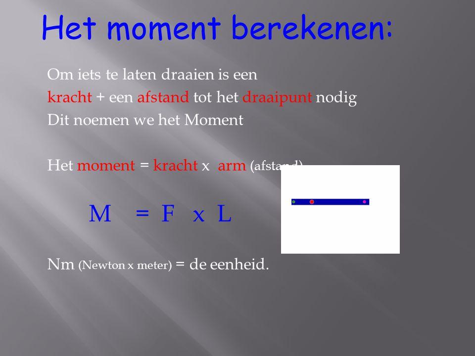 Het moment berekenen: M = F x L Om iets te laten draaien is een