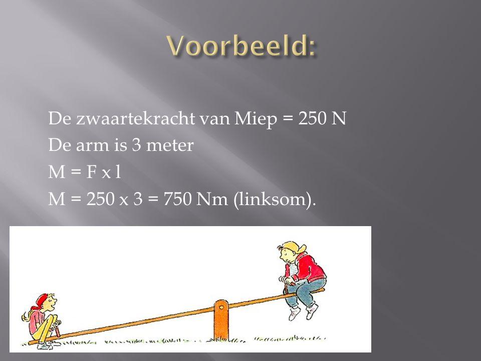 Voorbeeld: De zwaartekracht van Miep = 250 N De arm is 3 meter M = F x l M = 250 x 3 = 750 Nm (linksom).