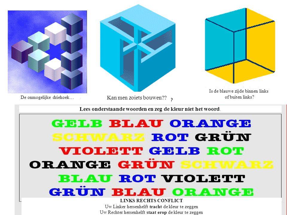 Lees onderstaande woorden en zeg de kleur niet het woord.