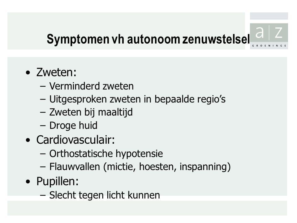 Symptomen vh autonoom zenuwstelsel