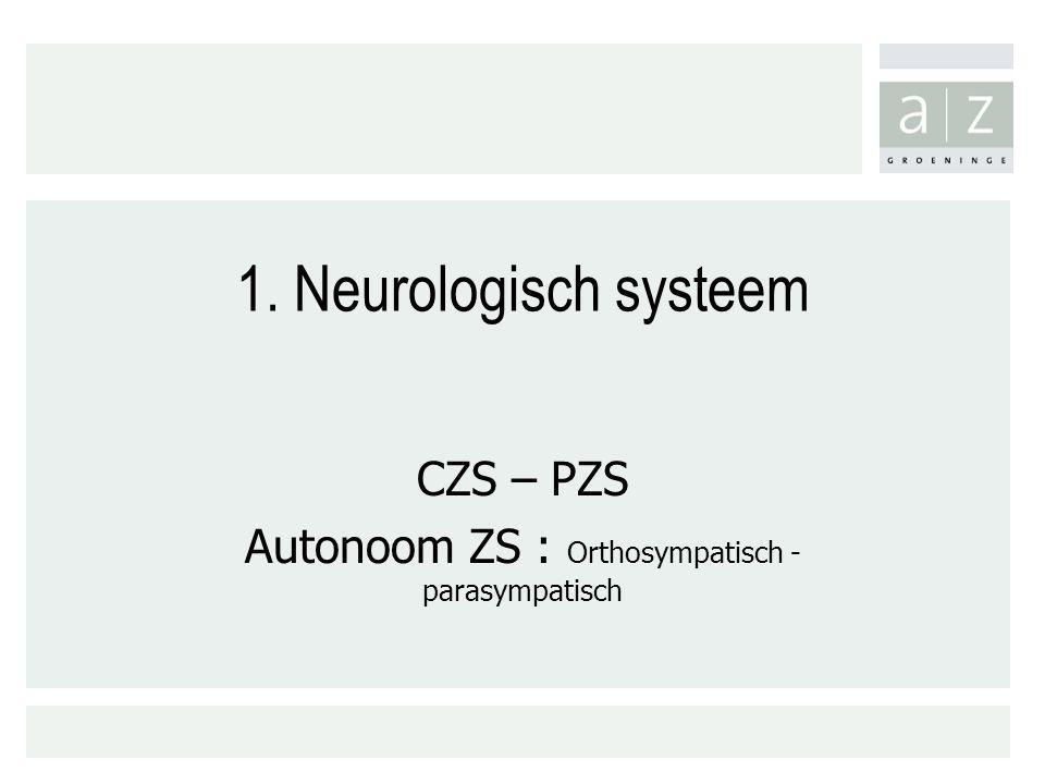 CZS – PZS Autonoom ZS : Orthosympatisch - parasympatisch