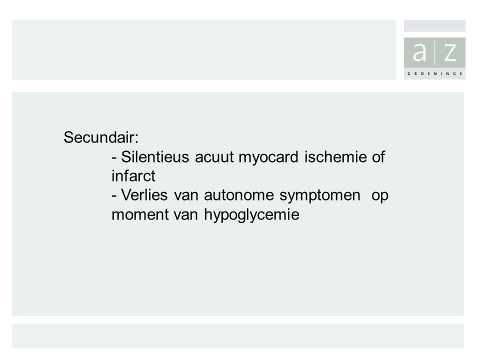 Secundair: - Silentieus acuut myocard ischemie of infarct.