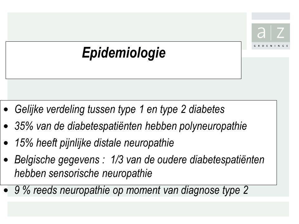 Epidemiologie Gelijke verdeling tussen type 1 en type 2 diabetes