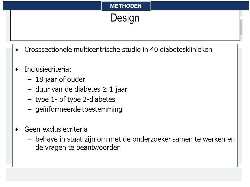 Design Crosssectionele multicentrische studie in 40 diabetesklinieken