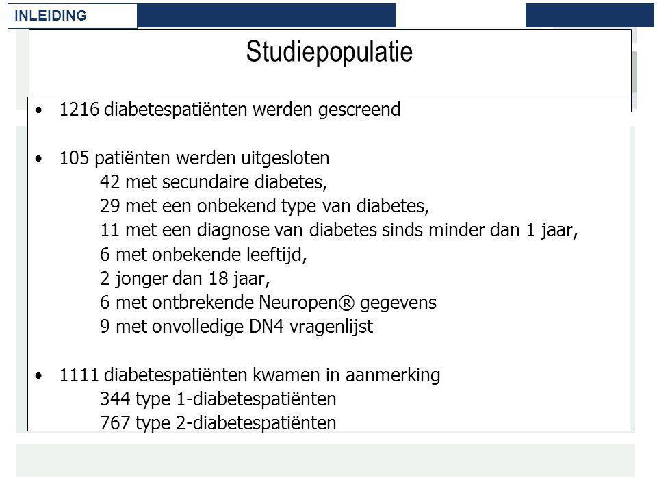 Studiepopulatie 1216 diabetespatiënten werden gescreend