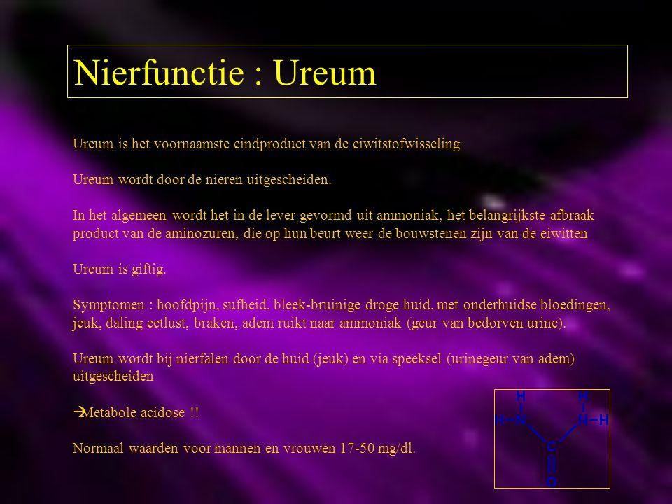 Nierfunctie : Ureum Ureum is het voornaamste eindproduct van de eiwitstofwisseling. Ureum wordt door de nieren uitgescheiden.