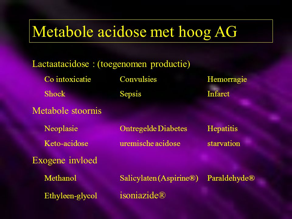 Metabole acidose met hoog AG
