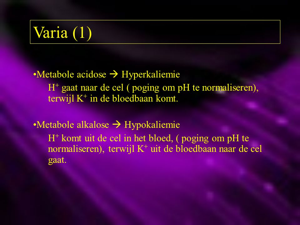 Varia (1) Metabole acidose  Hyperkaliemie