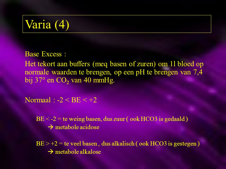 Varia (4) Base Excess :