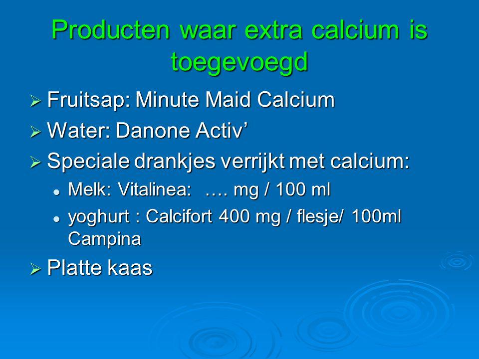 Producten waar extra calcium is toegevoegd