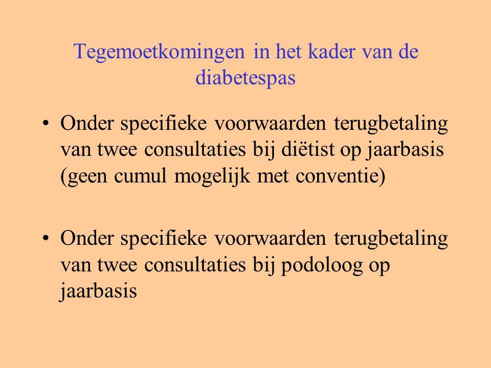 Tegemoetkomingen in het kader van de diabetespas