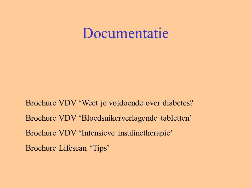 Documentatie Brochure VDV 'Weet je voldoende over diabetes