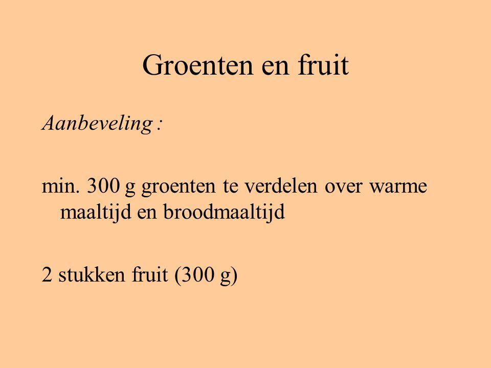 Groenten en fruit Aanbeveling :
