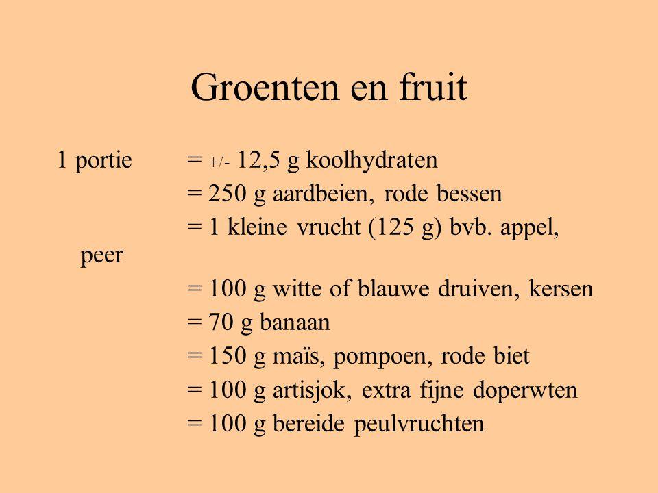Groenten en fruit 1 portie = +/- 12,5 g koolhydraten