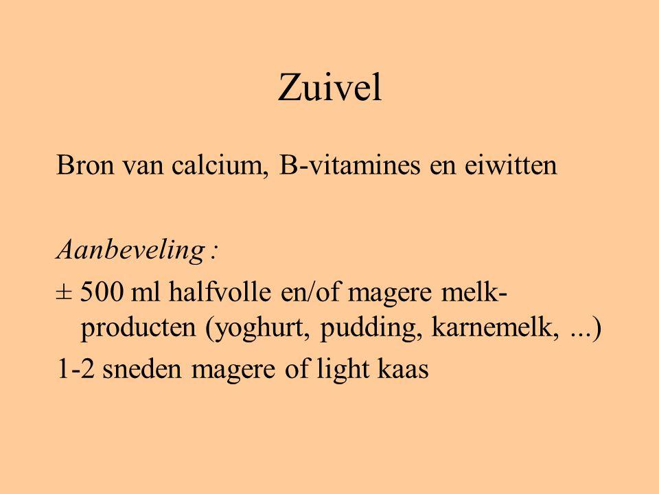 Zuivel Bron van calcium, B-vitamines en eiwitten Aanbeveling :