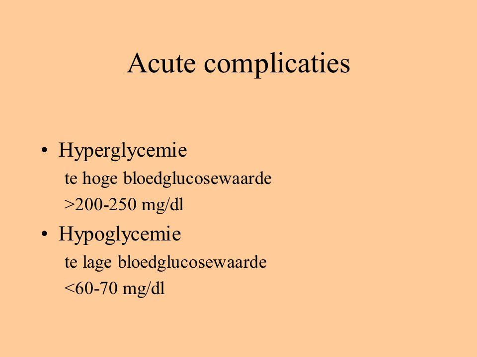 Acute complicaties Hyperglycemie Hypoglycemie