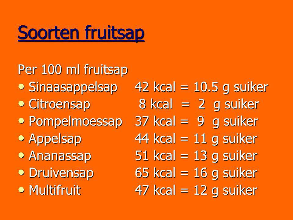 Soorten fruitsap Per 100 ml fruitsap