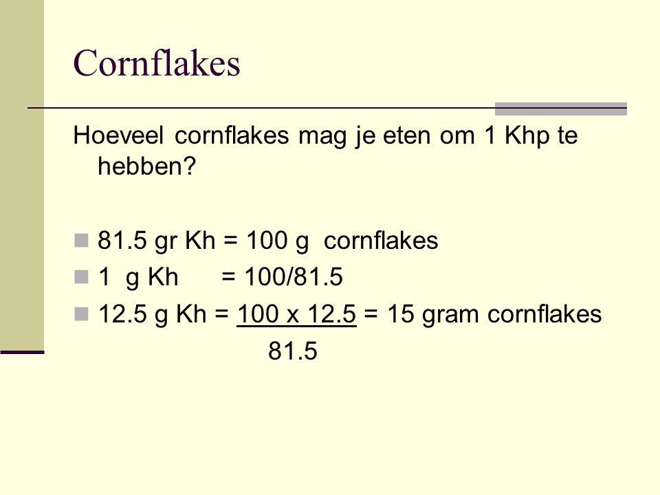 Cornflakes Hoeveel cornflakes mag je eten om 1 Khp te hebben