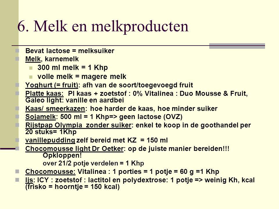 6. Melk en melkproducten 300 ml melk = 1 Khp volle melk = magere melk