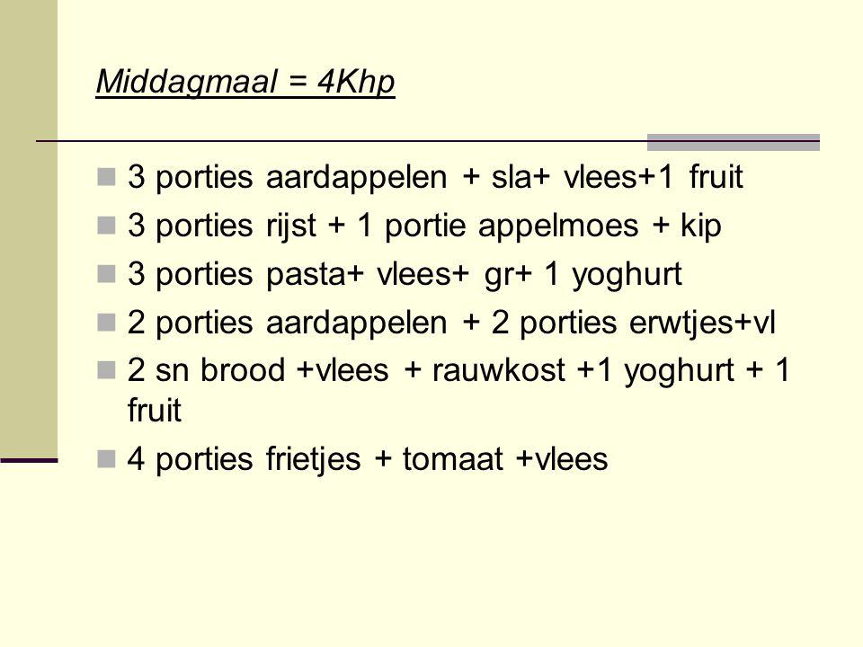 Middagmaal = 4Khp 3 porties aardappelen + sla+ vlees+1 fruit. 3 porties rijst + 1 portie appelmoes + kip.