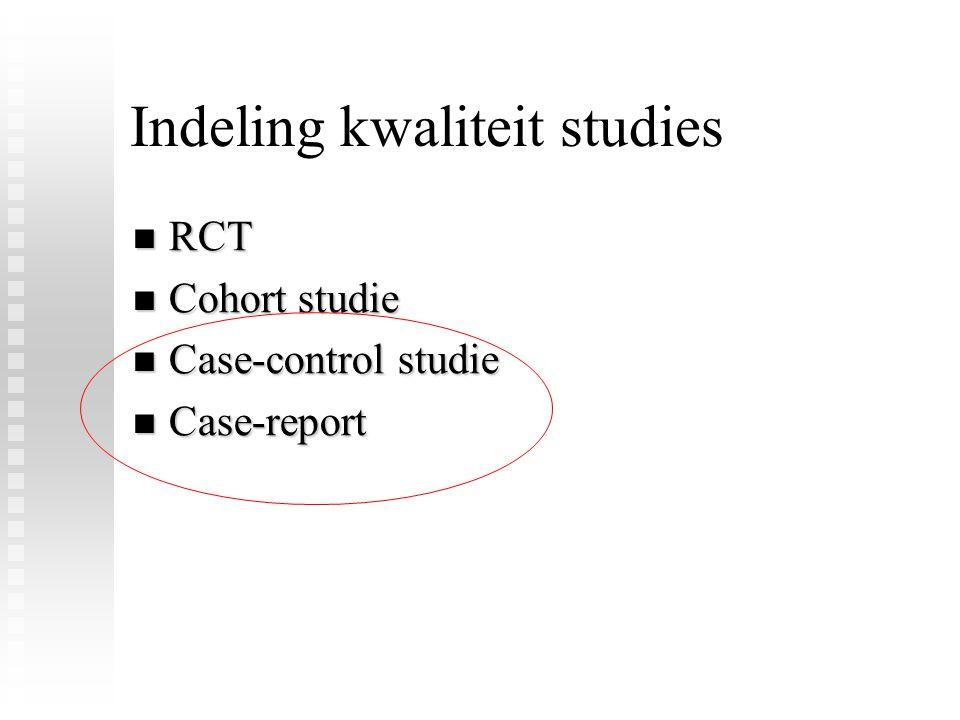 Indeling kwaliteit studies