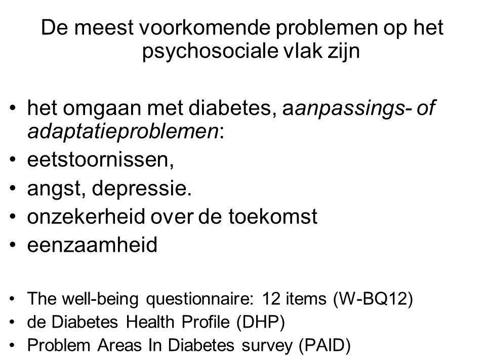 De meest voorkomende problemen op het psychosociale vlak zijn