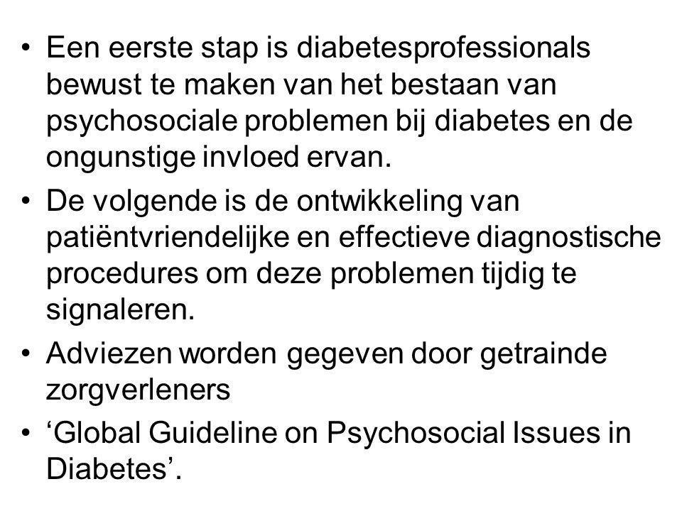 Een eerste stap is diabetesprofessionals bewust te maken van het bestaan van psychosociale problemen bij diabetes en de ongunstige invloed ervan.