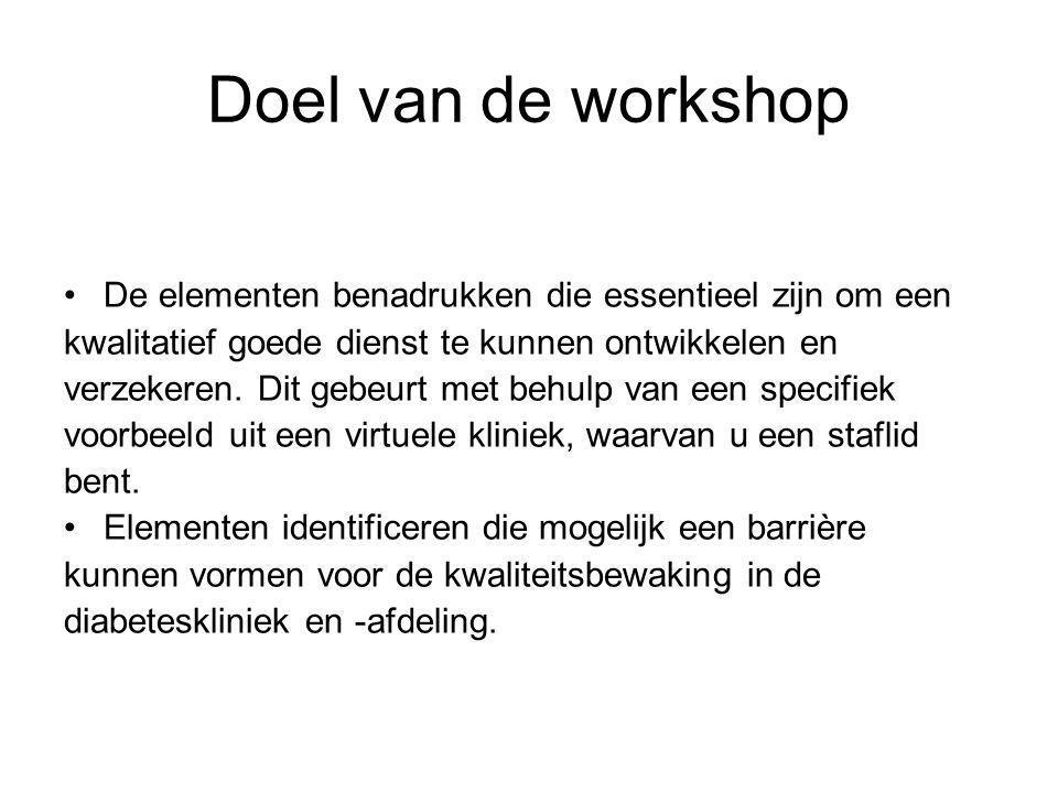 Doel van de workshop De elementen benadrukken die essentieel zijn om een. kwalitatief goede dienst te kunnen ontwikkelen en.