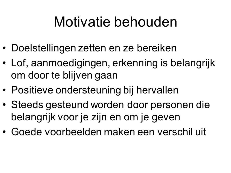 Motivatie behouden Doelstellingen zetten en ze bereiken