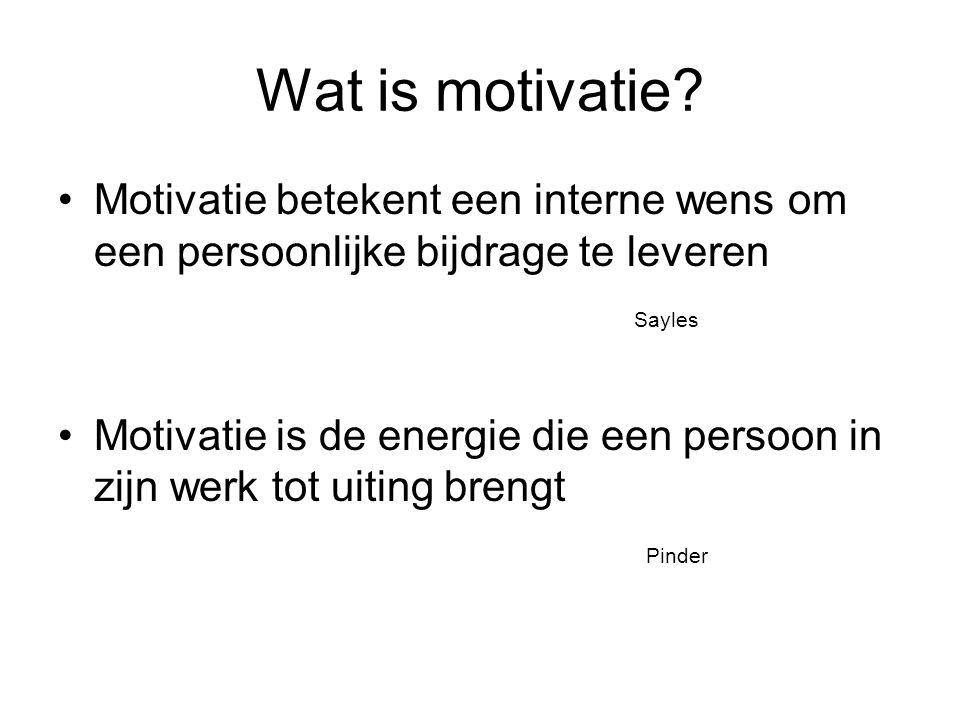 Wat is motivatie Motivatie betekent een interne wens om een persoonlijke bijdrage te leveren. Sayles.