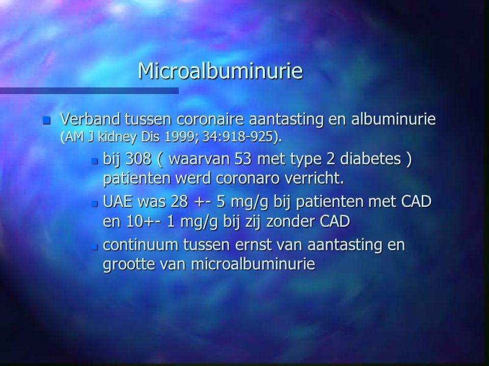 Microalbuminurie Verband tussen coronaire aantasting en albuminurie (AM J kidney Dis 1999; 34:918-925).