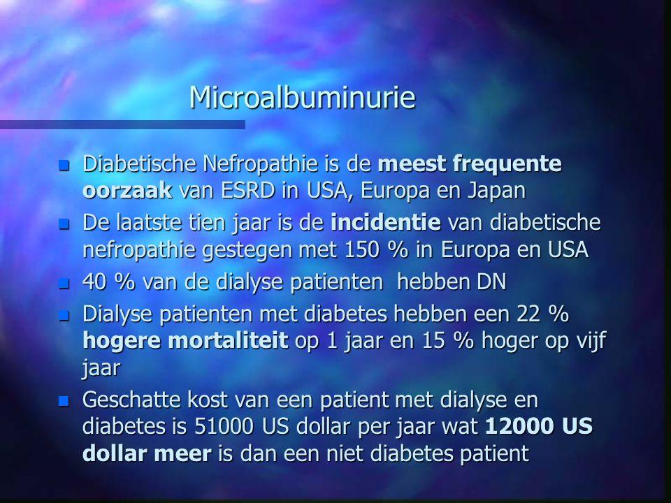 Microalbuminurie Diabetische Nefropathie is de meest frequente oorzaak van ESRD in USA, Europa en Japan.
