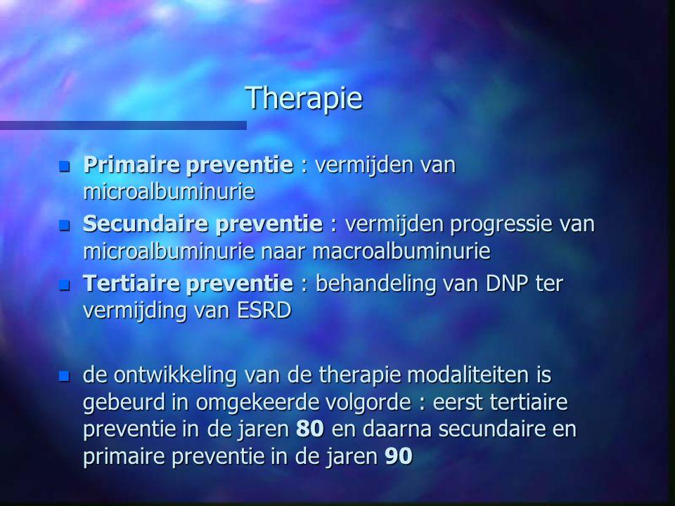 Therapie Primaire preventie : vermijden van microalbuminurie