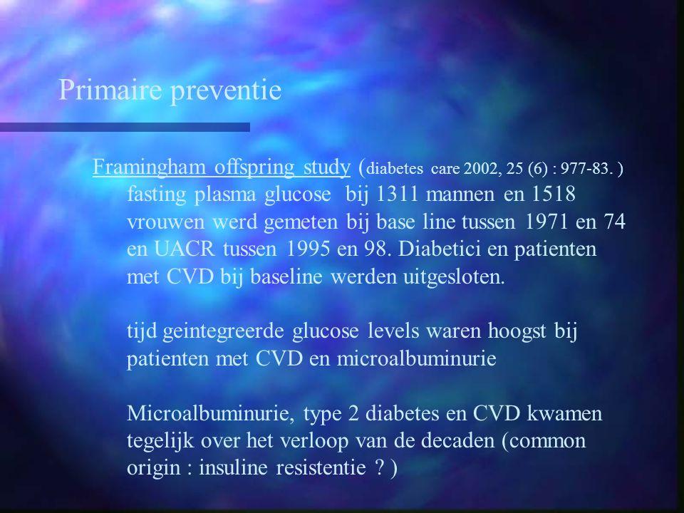 Primaire preventie Framingham offspring study (diabetes care 2002, 25 (6) : 977-83. )