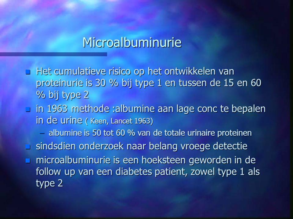 Microalbuminurie Het cumulatieve risico op het ontwikkelen van proteinurie is 30 % bij type 1 en tussen de 15 en 60 % bij type 2.