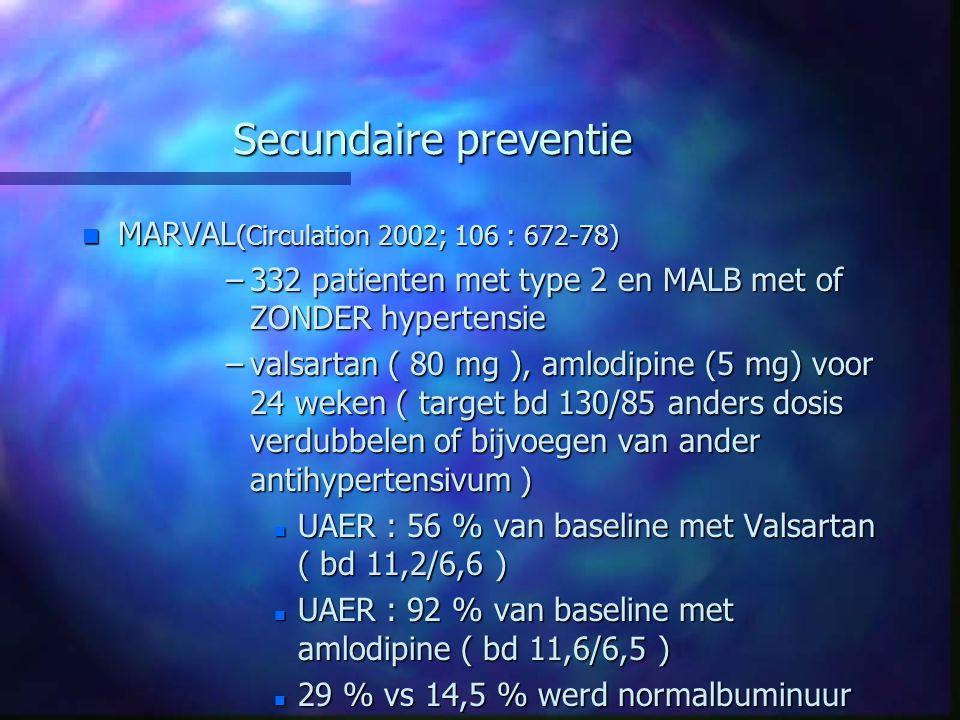 Secundaire preventie MARVAL(Circulation 2002; 106 : 672-78)
