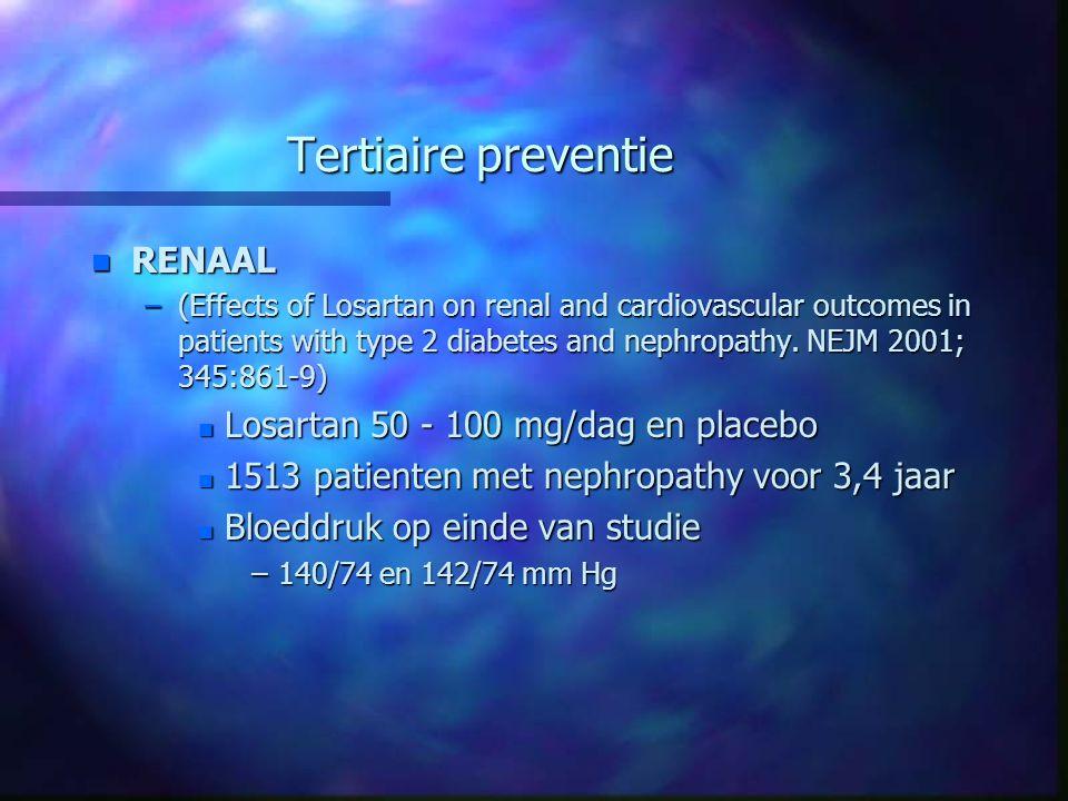 Tertiaire preventie RENAAL Losartan 50 - 100 mg/dag en placebo