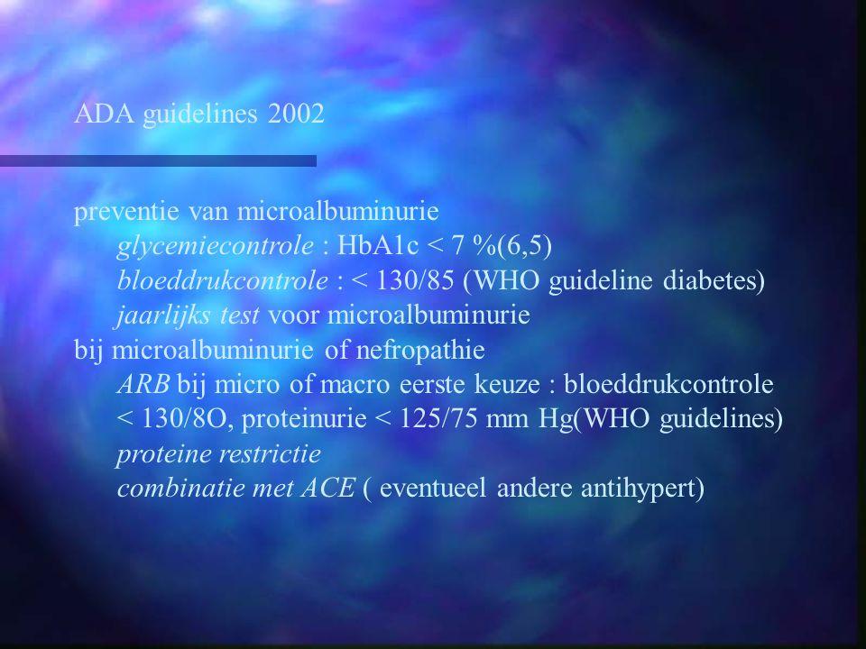 ADA guidelines 2002 preventie van microalbuminurie. glycemiecontrole : HbA1c < 7 %(6,5) bloeddrukcontrole : < 130/85 (WHO guideline diabetes)