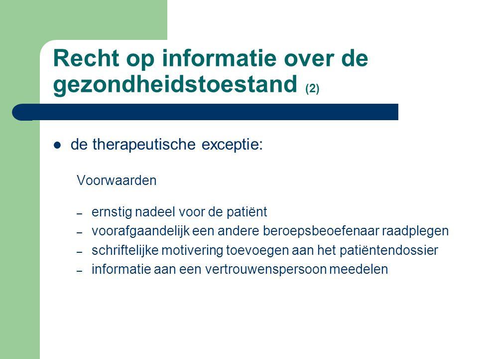 Recht op informatie over de gezondheidstoestand (2)