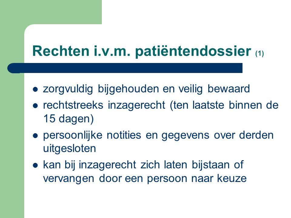Rechten i.v.m. patiëntendossier (1)