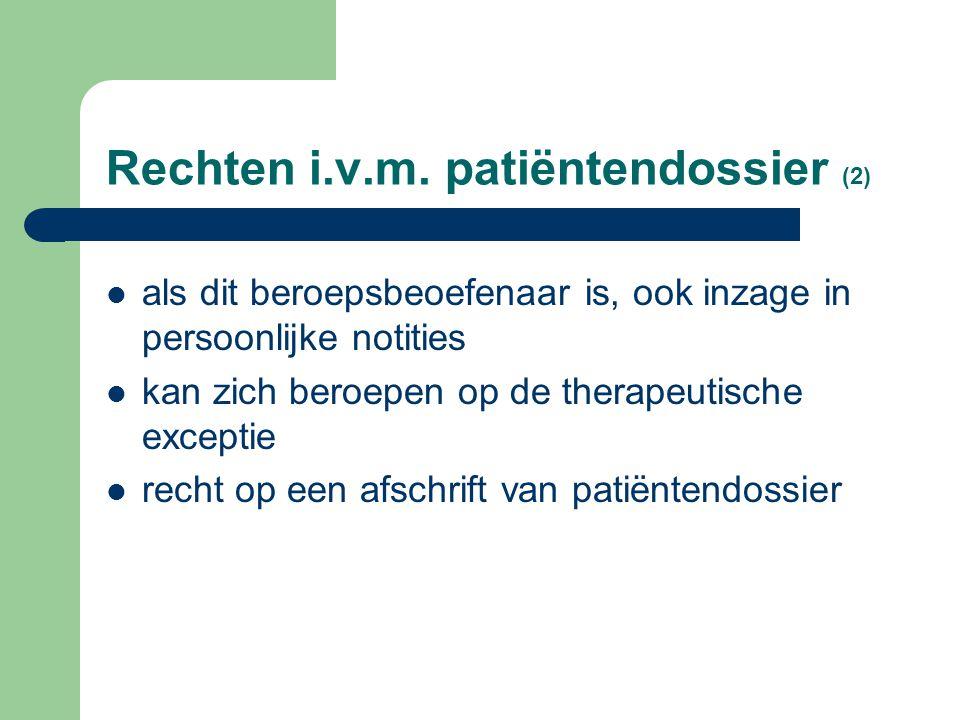 Rechten i.v.m. patiëntendossier (2)