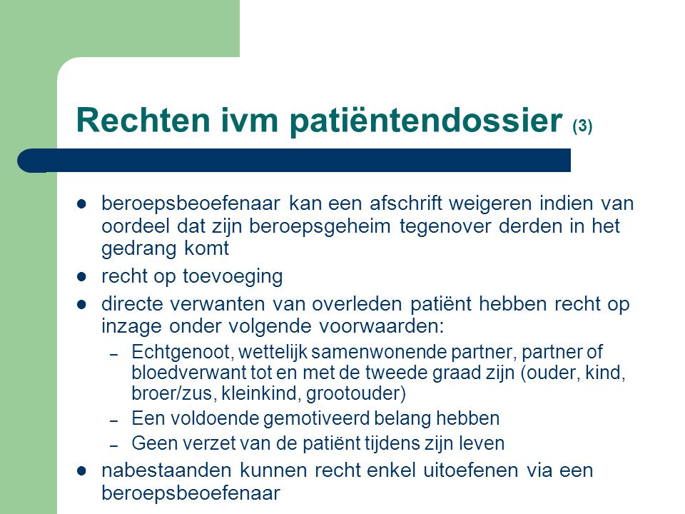 Rechten ivm patiëntendossier (3)