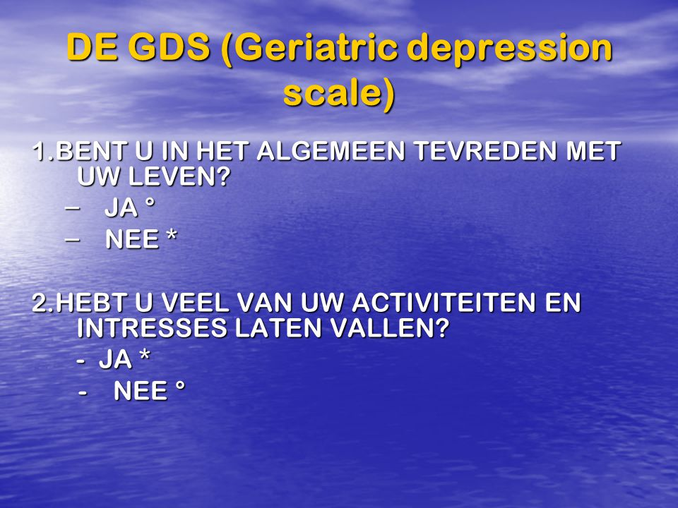 DE GDS (Geriatric depression scale)