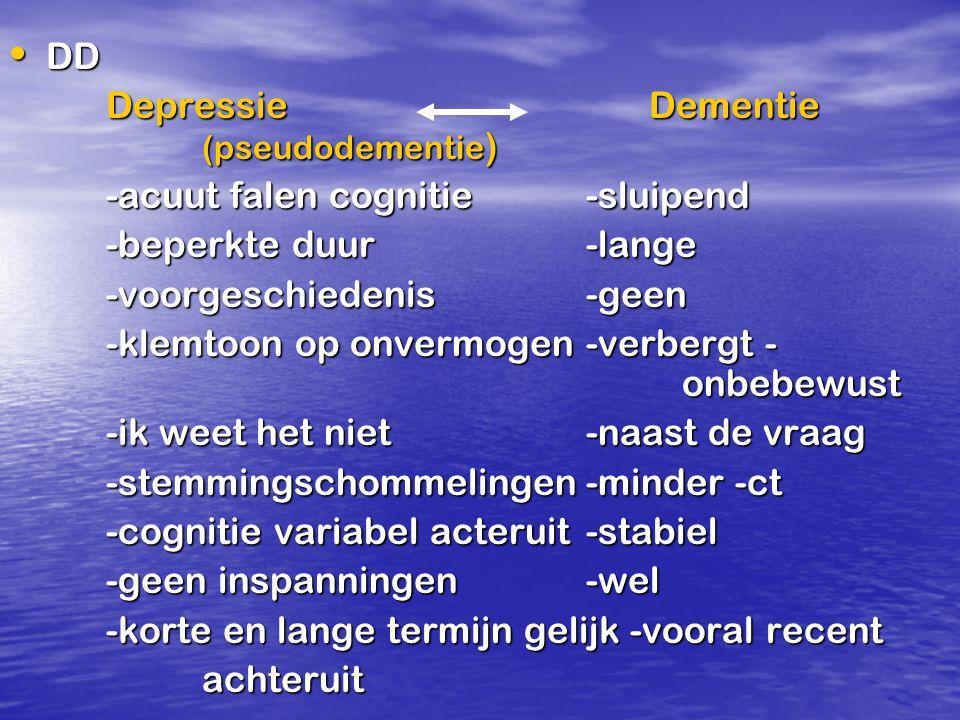 DD Depressie Dementie (pseudodementie) -acuut falen cognitie -sluipend. -beperkte duur -lange.