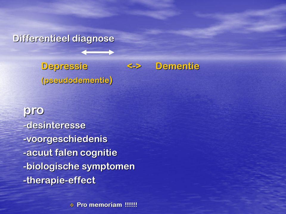 Differentieel diagnose Depressie <-> Dementie