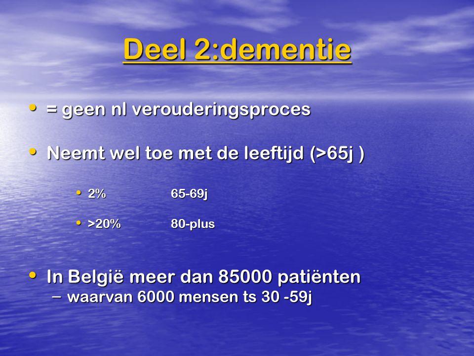 Deel 2:dementie = geen nl verouderingsproces