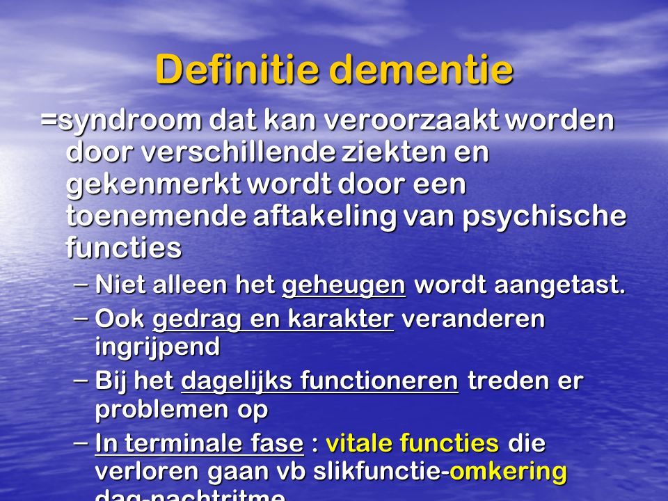 Definitie dementie